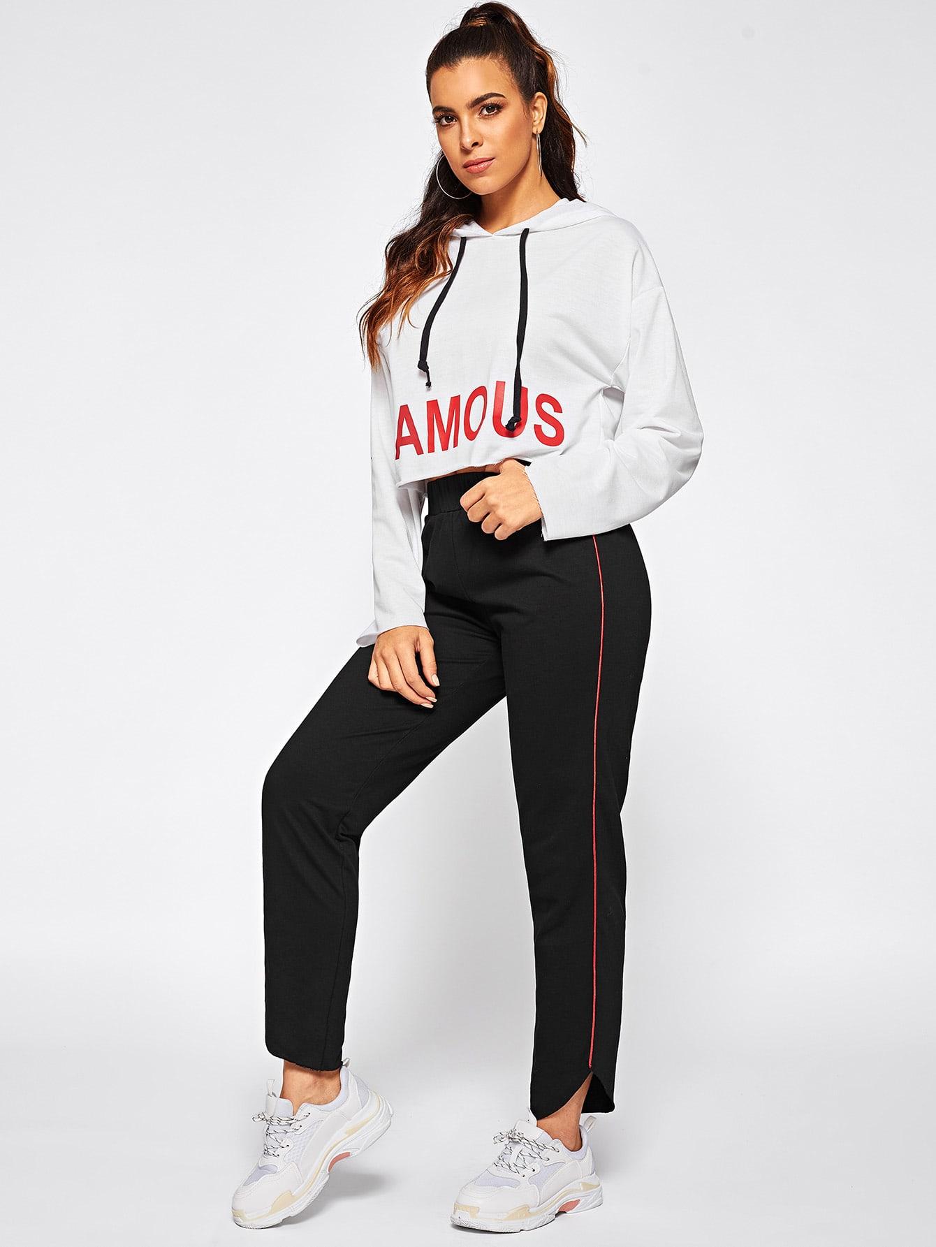 Фото - Короткая толстовка и контрастные брюки комплект от SheIn цвет чёрнобелые