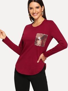 Sequin Pocket Detail Curved Hem T-shirt