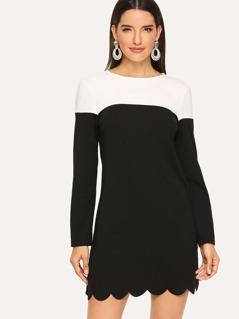 Scalloped Hem Two Tone Dress