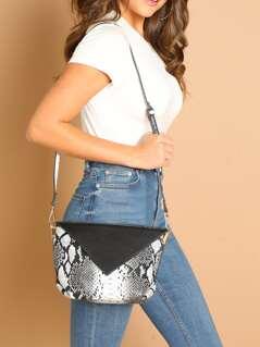 Double Side Magnetic Flap Snake Print Shoulder Bag