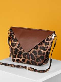 Double Side Magnet Flap Leopard Print Shoulder Bag