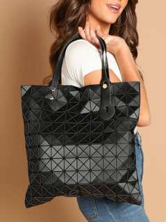 Geometric Diamond Double Top Handle Tote