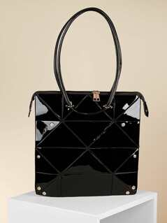Shine Patent Leather Square Double Handle Tote Bag