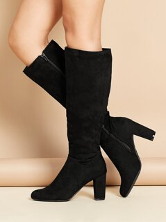 Knee High Almond Toe Side Zip Chunky Heel Boots