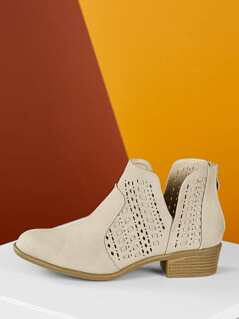 Almond Toe Stacked Low Heel Perforated Ankle Boots