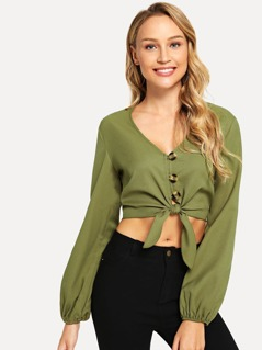 Lantern Sleeve Knot Buttoned Blouse