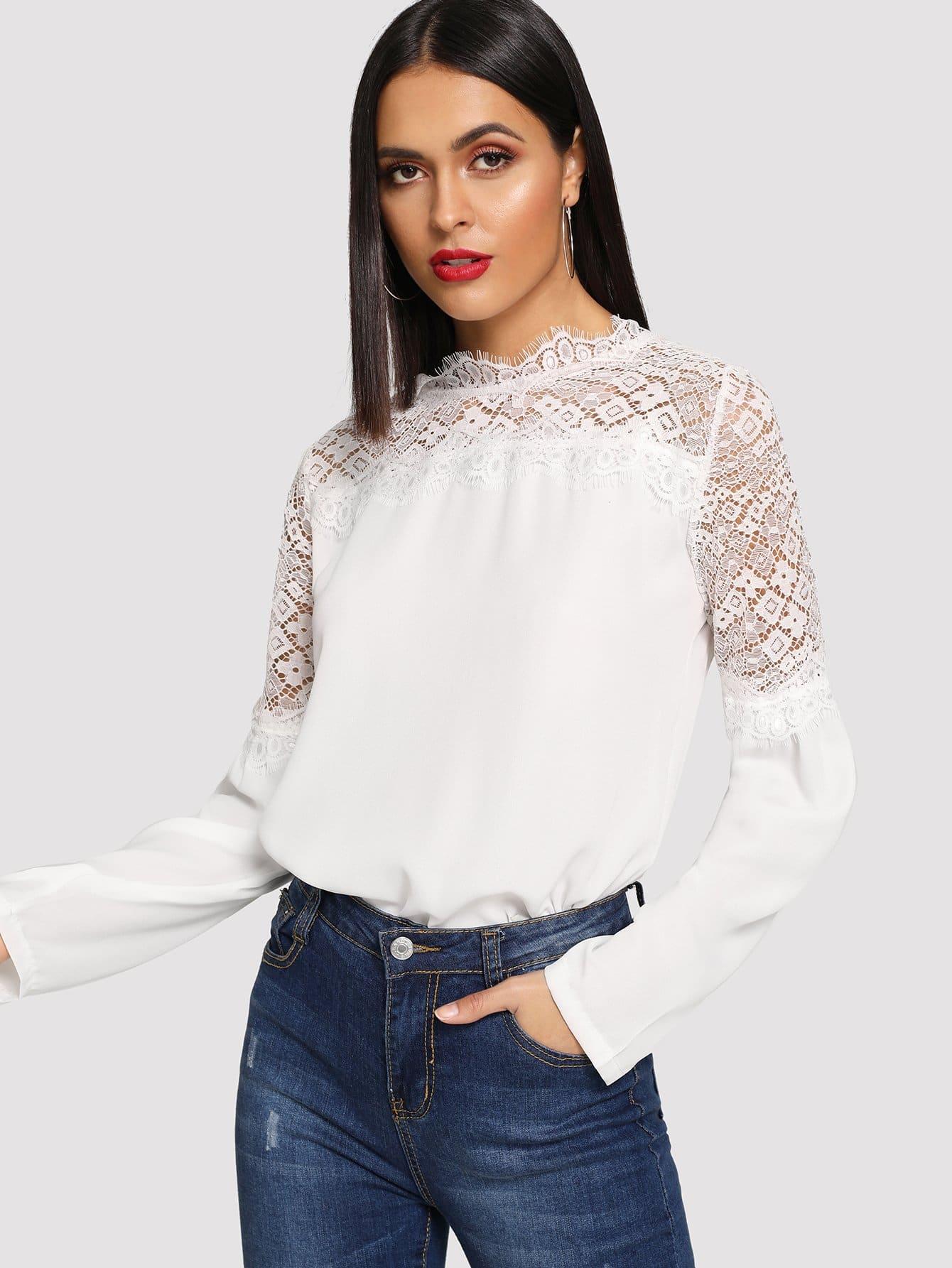 Фото - Цветочные кружева блузка от SheIn белого цвета