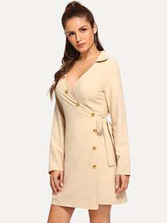 Knot Side Button Trim Dress