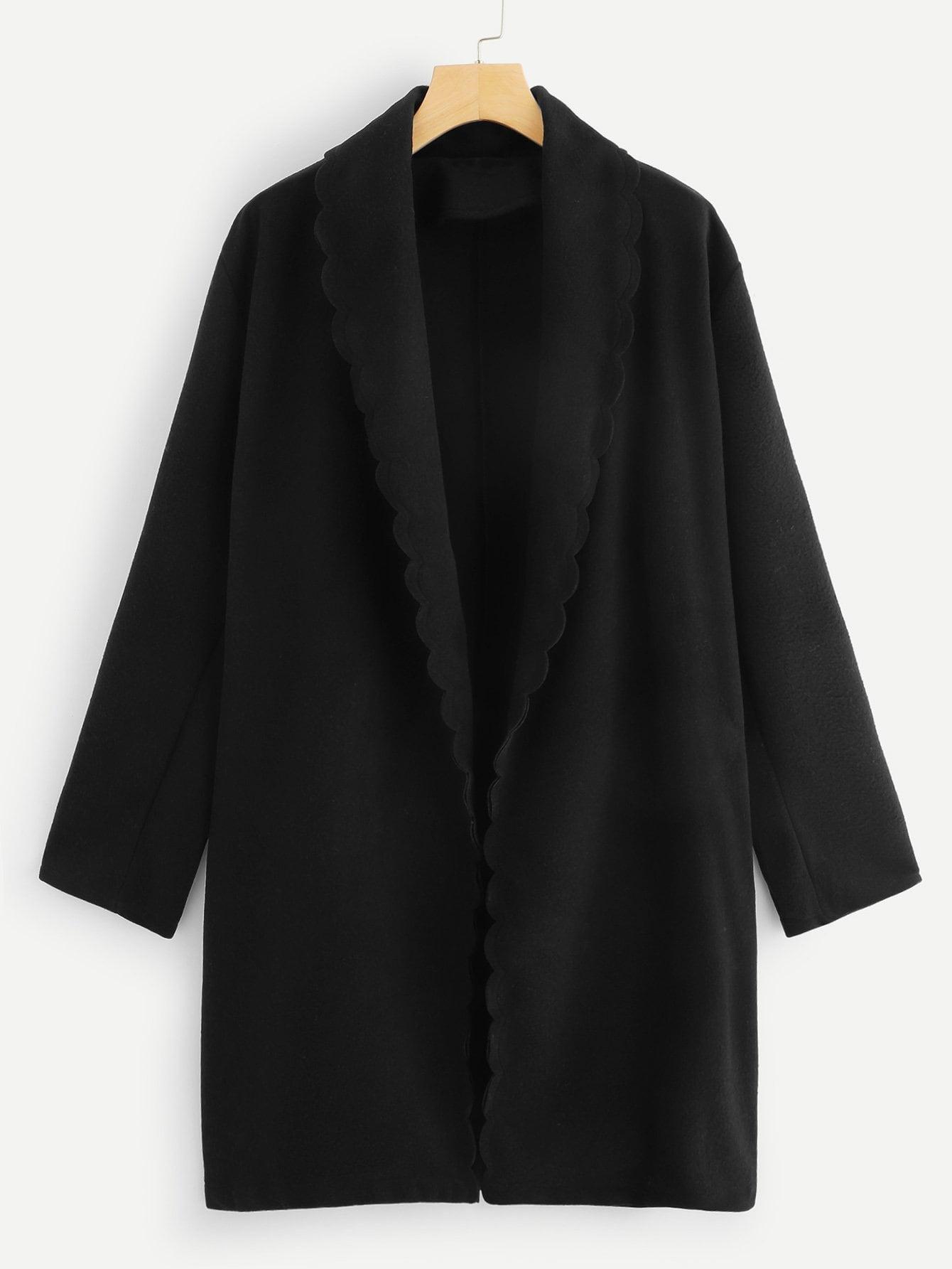 Купить Плюс размеры пальто с веерообразной отделкой, null, SheIn