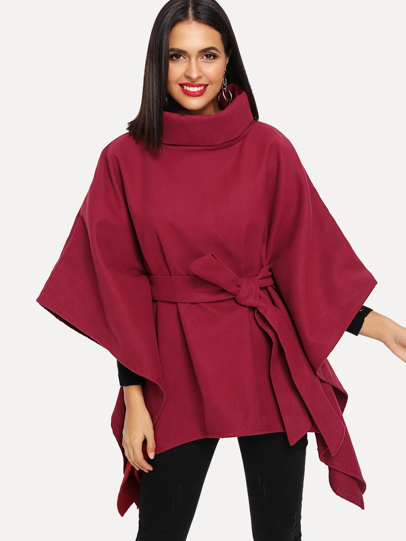 Пальто-пончо с высоким вырезом с поясом SheIn