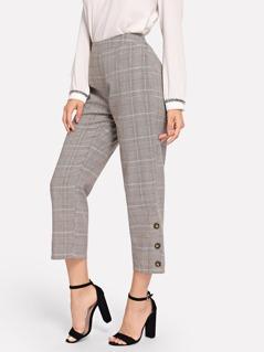Wide Waistband Plaid Pants