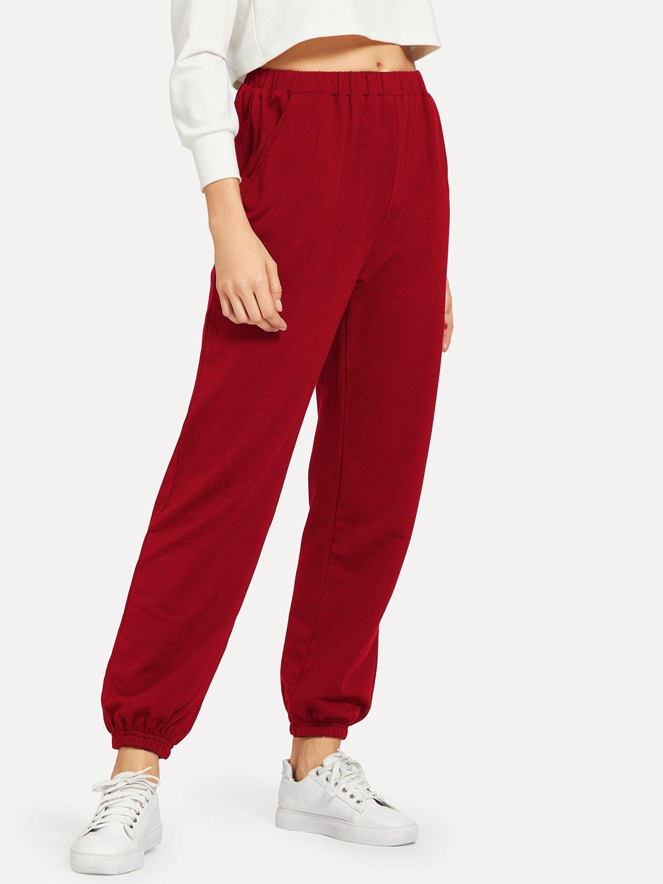 Купить Однотонные брюки с эластичным низом, Masha, SheIn
