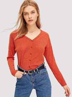V Neck Button Up Knit Coat