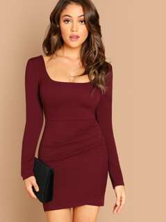 Low Cut Square Neck Stretch Long Sleeve Mini Dress
