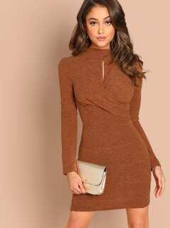 Twist Front Keyhole Long Sleeve Knit Mini Dress