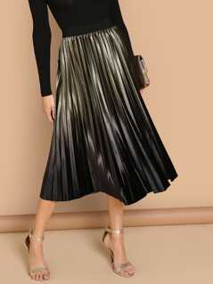 Ombre Velvet Pleated Flare Midi Skirt