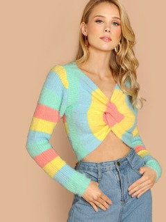 Twist Front Colorblock Crop Knit Pullover Sweater