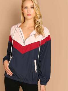Half Zip Pullover Hooded Colorblock Windbreaker