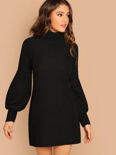 High Neck Rib Knit Cuffed Sleeve Mini Dress