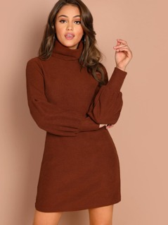 High Neck Rib Knit Cuffed Sleeve Mini Dress