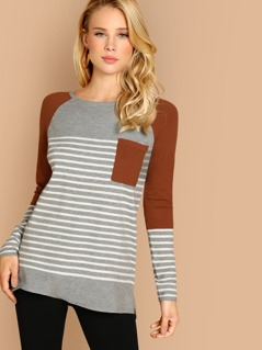 Striped Colorblock Front Pocket Pullover Sweater