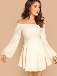 Off The Shoulder Long Sleeve Flared Mini Dress