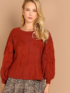 Large Cable Knit Beshop Sleeve Pullover Sweater