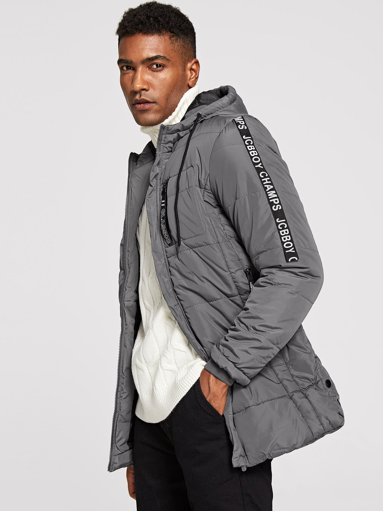 Купить Мужское хлопковое пальто в полоску с капюшоном и текстовым принтом, Johnn Silva, SheIn