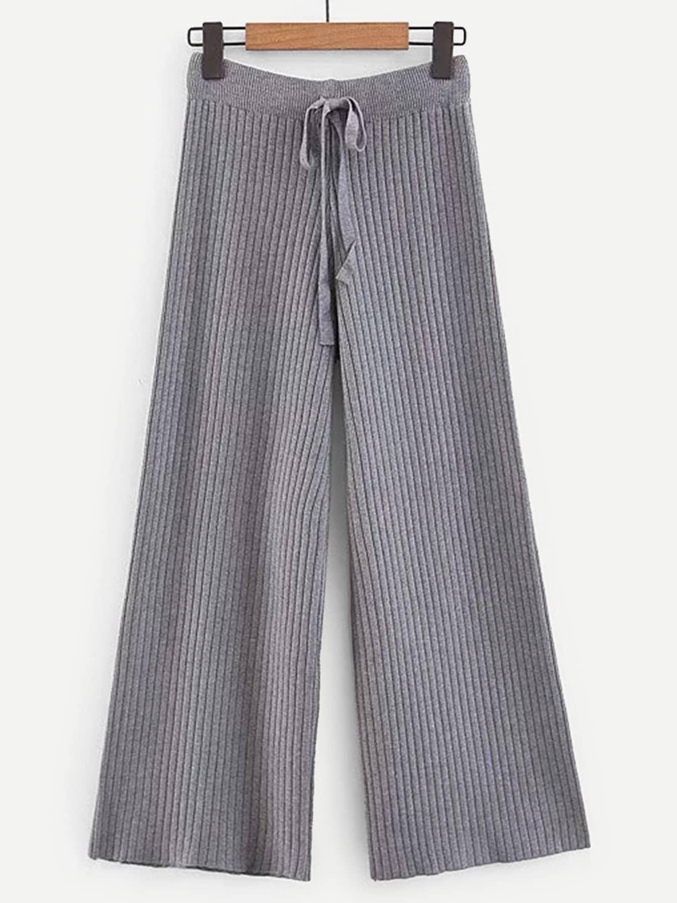 Купить Широкие ножные штаны с бантом и рельефной вязаной отделкой, null, SheIn