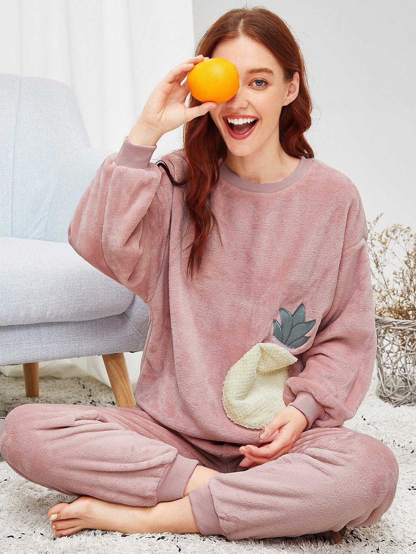 Купить Пушистая пижама с принтом вышитого ананаса, Poly, SheIn