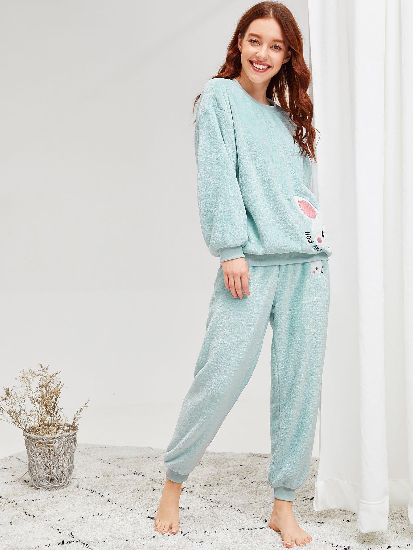 Купить Пушистая пижама с принтом вышитого кролика, Poly, SheIn