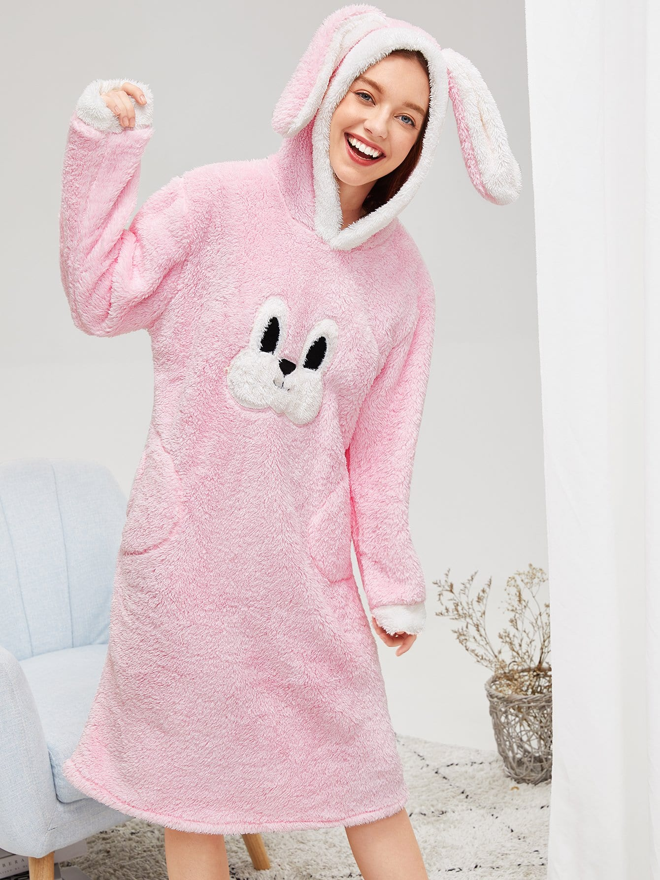 Купить Пушистое платье с капюшоном и принтом вышитого кролика, Poly, SheIn
