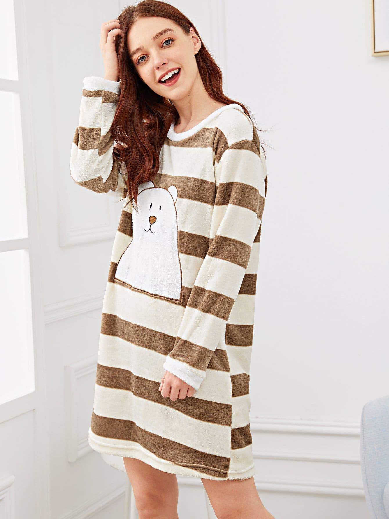 Купить Полосатое пушистое платье с принтом вышитого медведя, Poly, SheIn