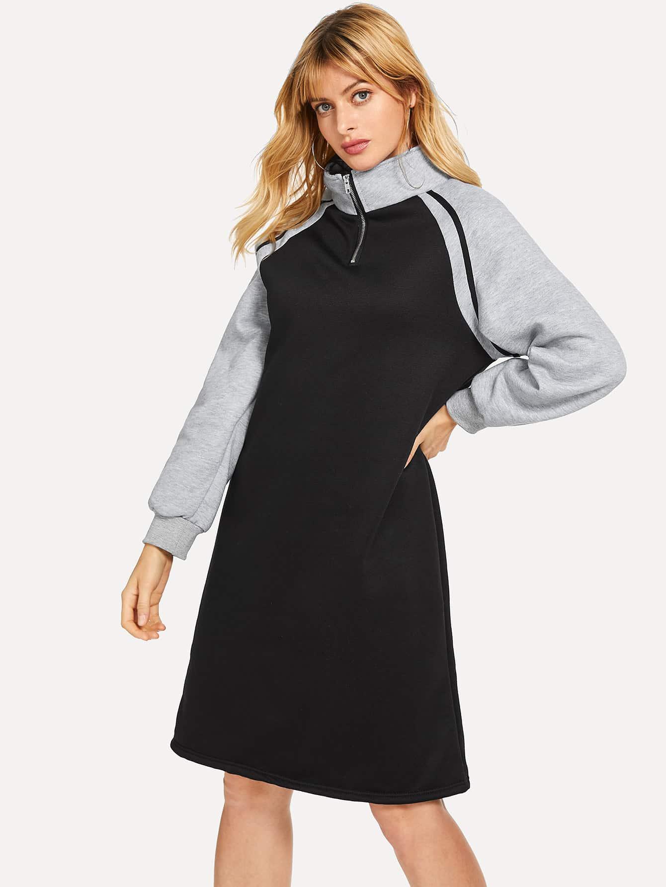 Купить Платье-свитшот с застёжкой молния и рукав-регланами, Masha, SheIn