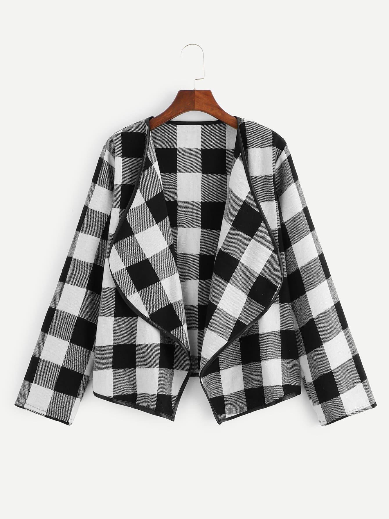 Твидовое пальто в клетку с контрастной отделкой SheIn