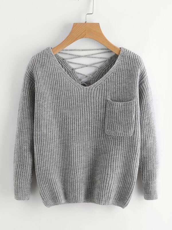 Купить Размера плюс свитер с V-образным вырезом крест-на-крест, null, SheIn