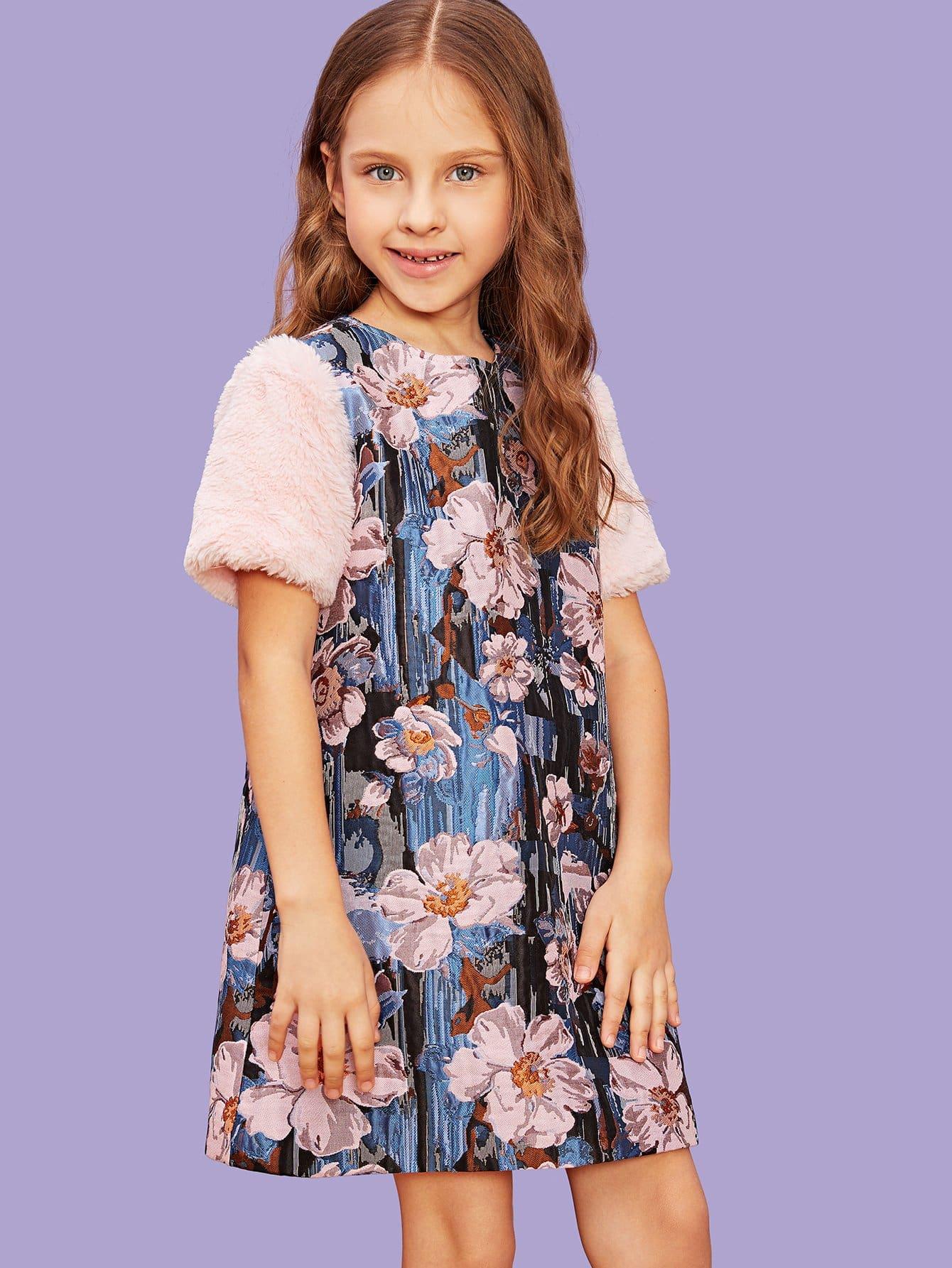 Купить Для девочек цветочное платье с рукавом искусственного меха, Anna C, SheIn