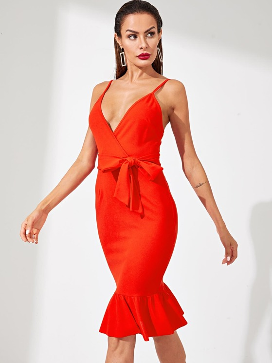 020b6d0139 Tie Waist Ruffle Hem Wrap Cami Dress