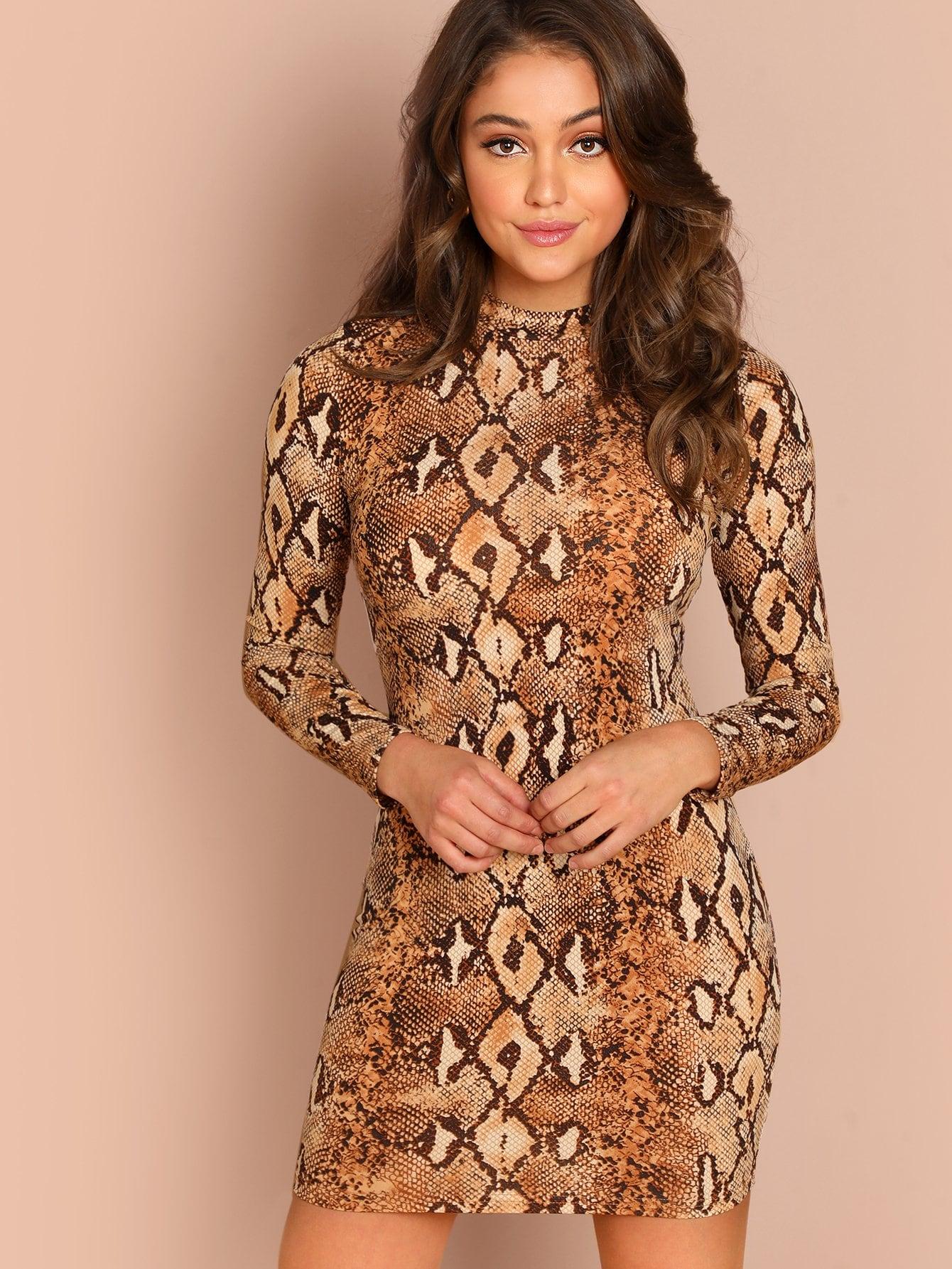 Фото - Платье с принтом змеиной кожи от SheIn цвет многоцветный