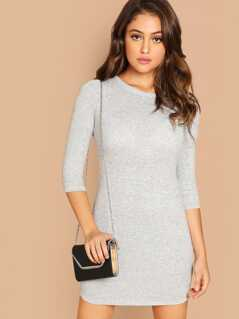 Solid Heathered Knit Dress