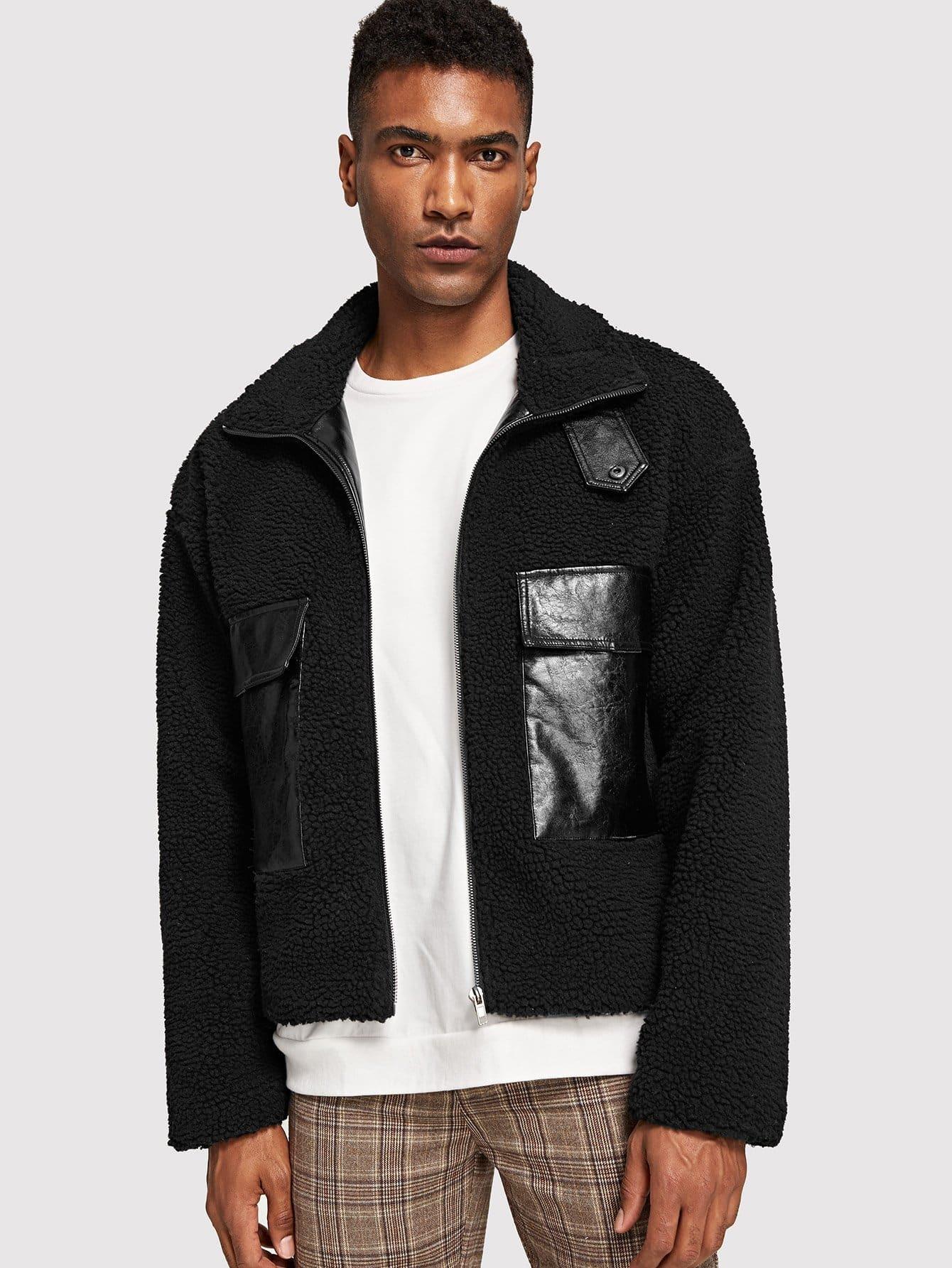 Купить Для мужчин PU тедди куртка на молнии с карманом, Johnn Silva, SheIn