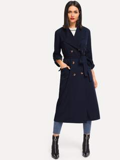 Rolled Tab Sleeve Double Breasted Longline Coat