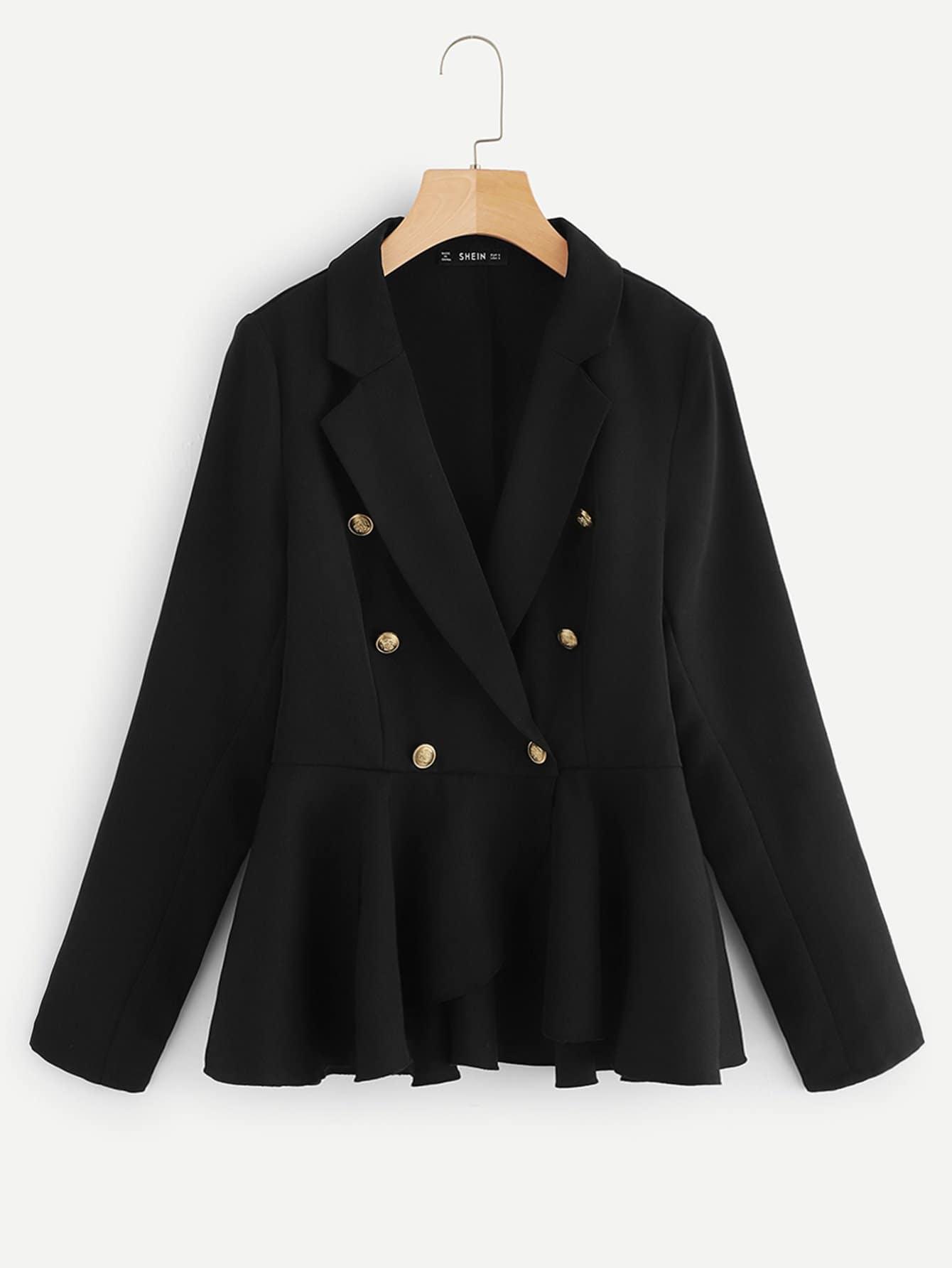 Фото - Двубортное пальто с зубчатым вырезом от SheIn черного цвета