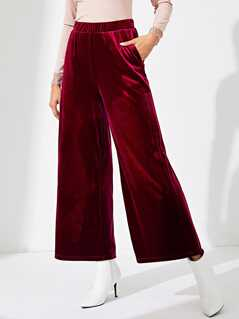 Slant Pocket Wide Leg Velvet Pants