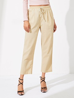Elastic Waist Drawstring Pocket Solid Pants