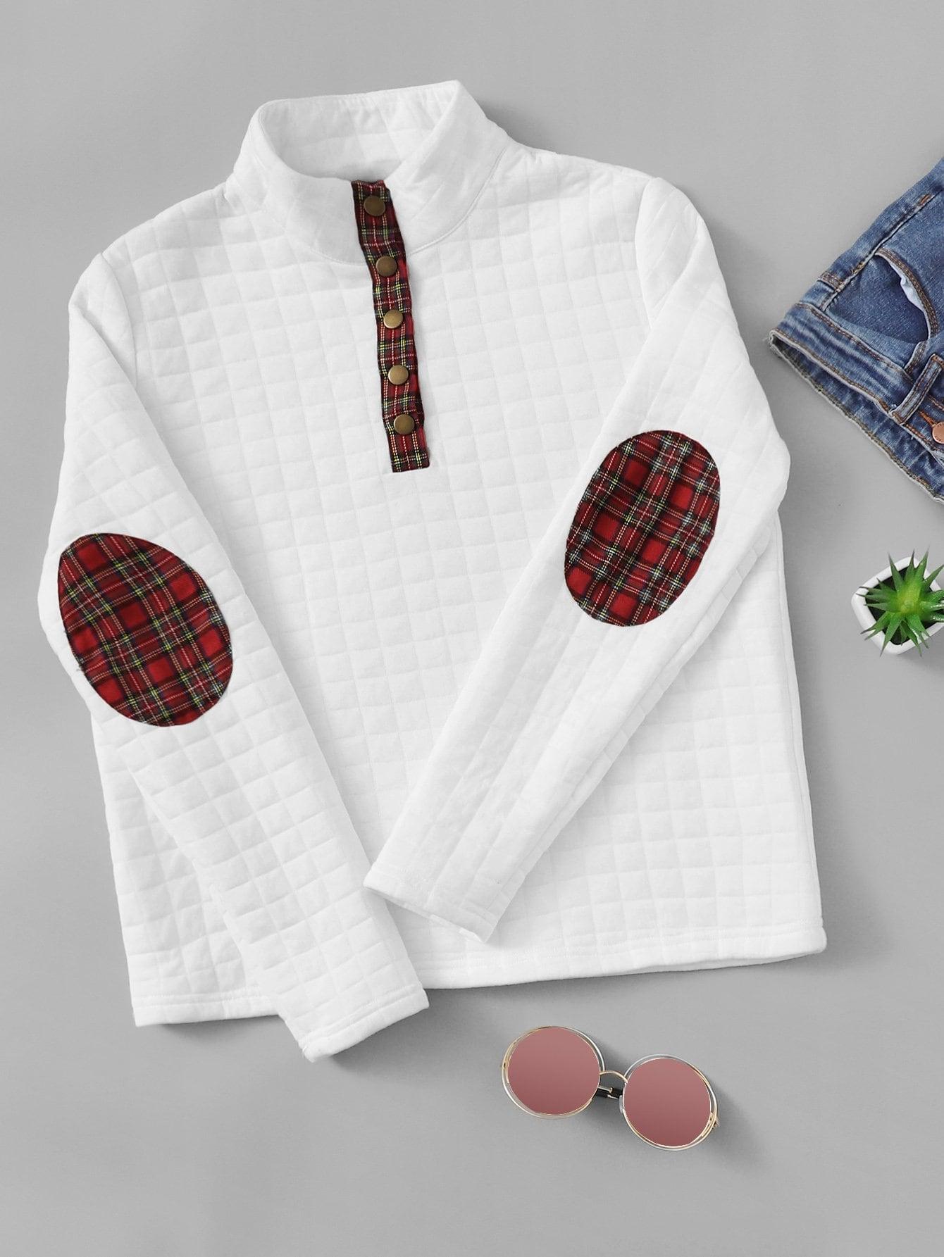 Фото - Текстурированный пуловер на пуговицах от SheIn белого цвета