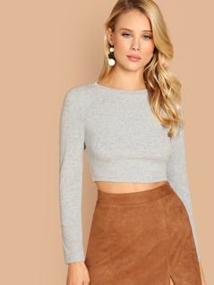 Ribbed Knit Crop Tee