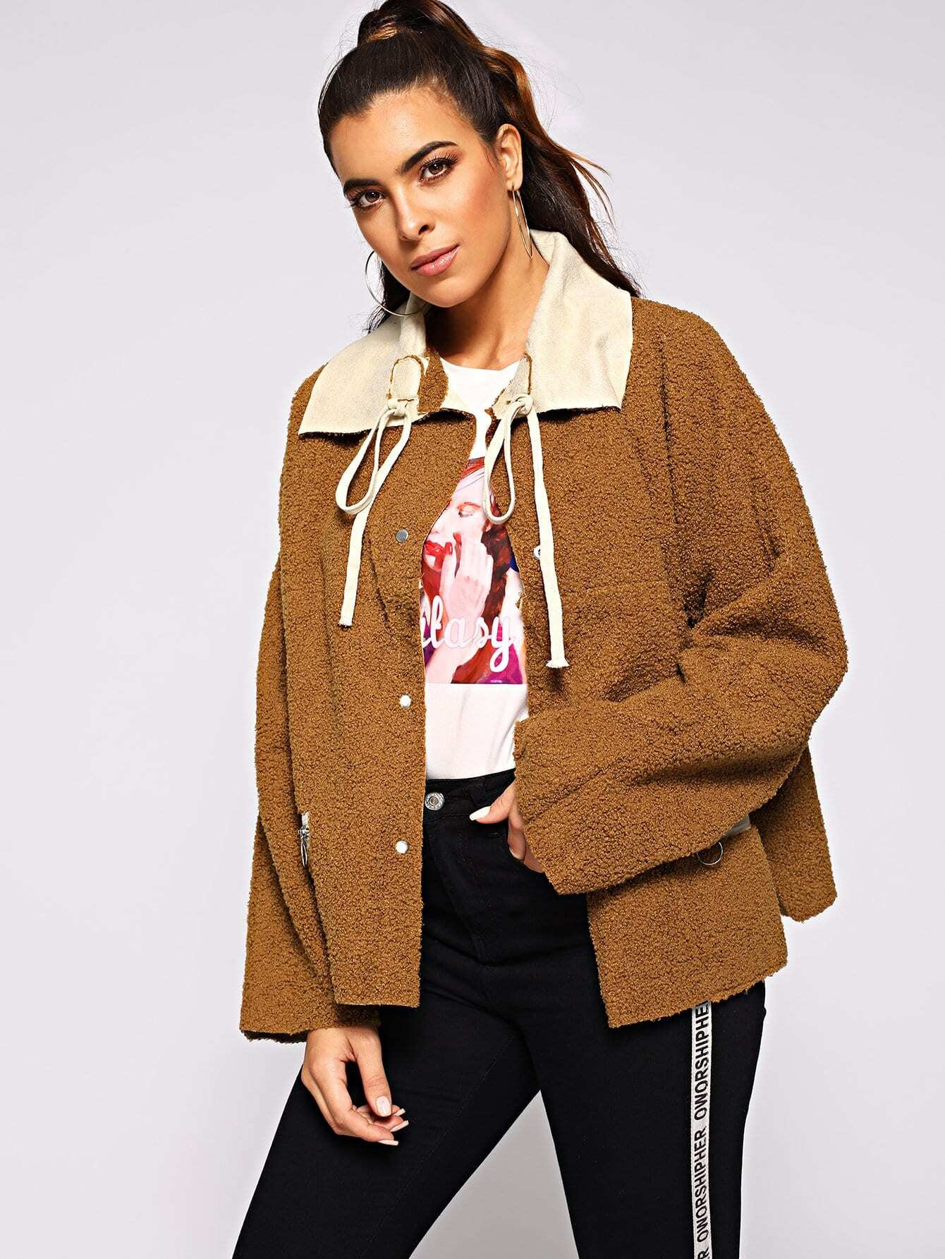 Купить Утеплённая куртка на обеих сторонах одежды, Dani, SheIn