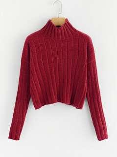 High Neck Raw Hem Crop Sweater