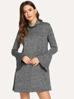 High Neck Bell Sleeve Heathered Dress